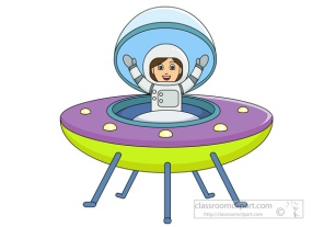 cartoon girl in spaceship