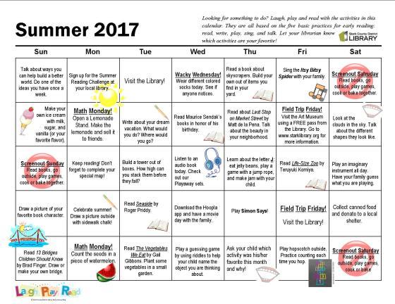 Summer 2017 Calendar